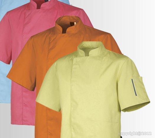 Veste de cuisine manche courte nero orange for Veste de cuisine manche courte